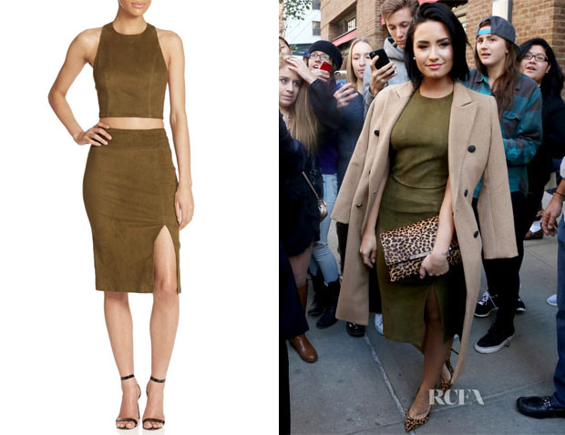Demi Lovato's Alice + Olivia Suede Cropped Top & Skirt