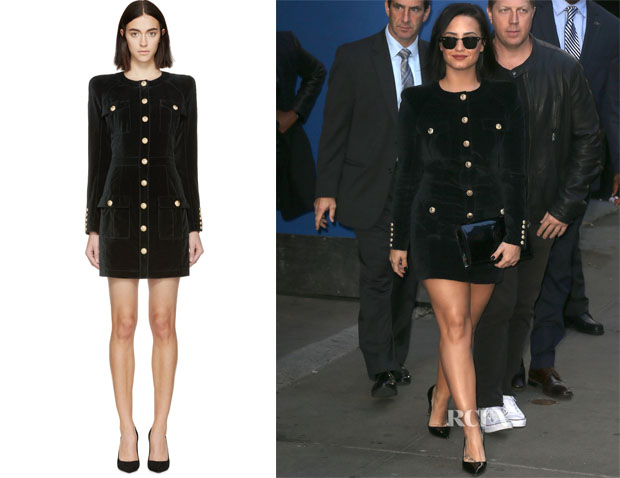 Demi Lovato's Balmain Velvet Military Dress