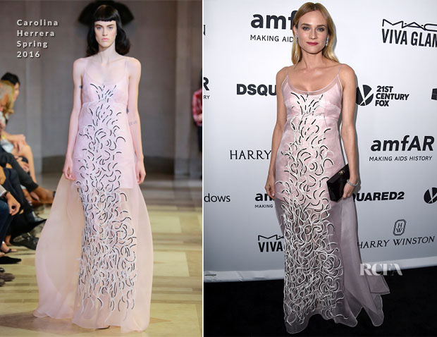 Diane Kruger In Carolina Herrera S16 - amfAR's Inspiration Gala Los Angeles