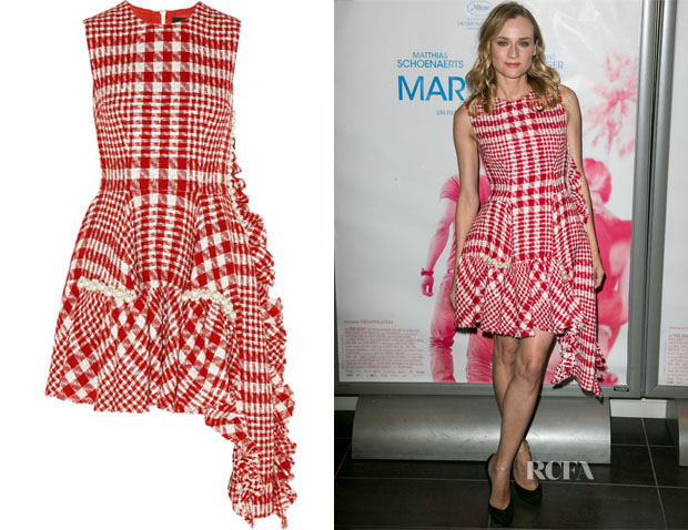 Diane Kruger's Simone Rocha's Red and White Checkered Tweed Dress