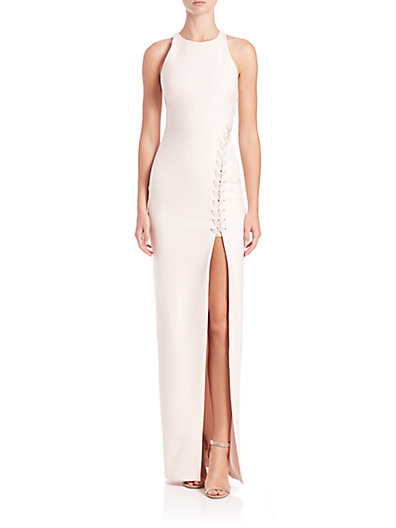 Elizabeth and James Amya Asymmetrical Lace-Up Gown