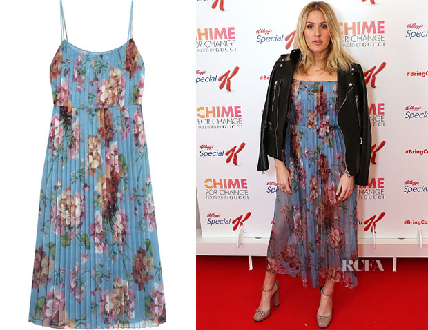 Ellie Goulding's Gucci Floral-print stretch-silk dress