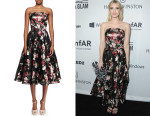 Emma Roberts' Alexander McQueen Strapless Full-Skirt Floral Dress