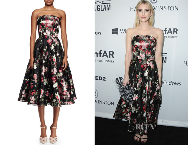 Emma Roberts' Alexander McQueen Strapless Full-Skirt Cocktail Dress