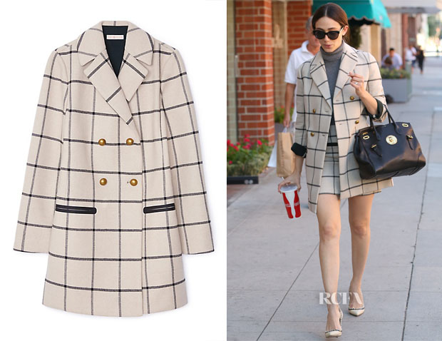 Emmy Rossum's Tory Burch Plaid Short Coat