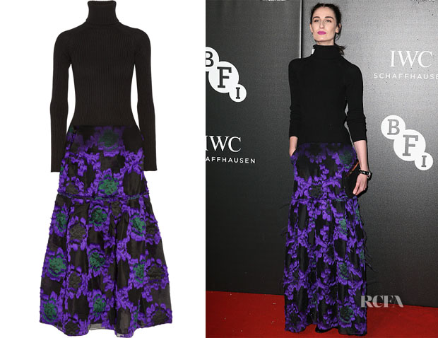 Erin O'Connor's Erdem Ribbed wool-blend and fil coupé organza gown