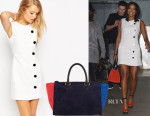 Gabrielle Union's ASOS Button Detail Mini Dress & Clare V Sandrine Color-Block Suede Tote