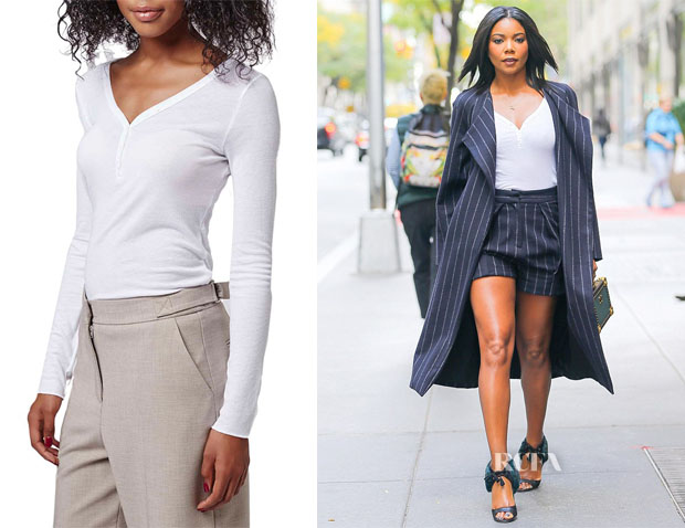 Gabrielle Union's Topshop 'Granddad' Ribbed Henley Top