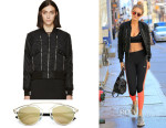 Gigi Hadid's Saint Laurent Zippered Bomber Jacket & Dior So Real Sunglasses