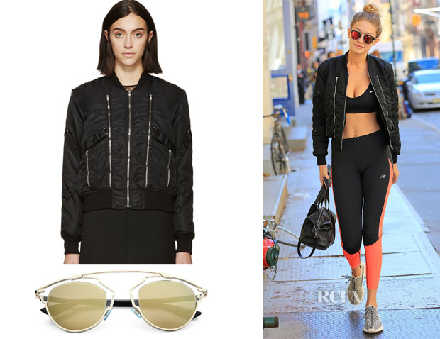 Gigi Hadid's Saint Laurent  Black Nylon Zippered Bomber Jacket & Dior So Real Sunglasses