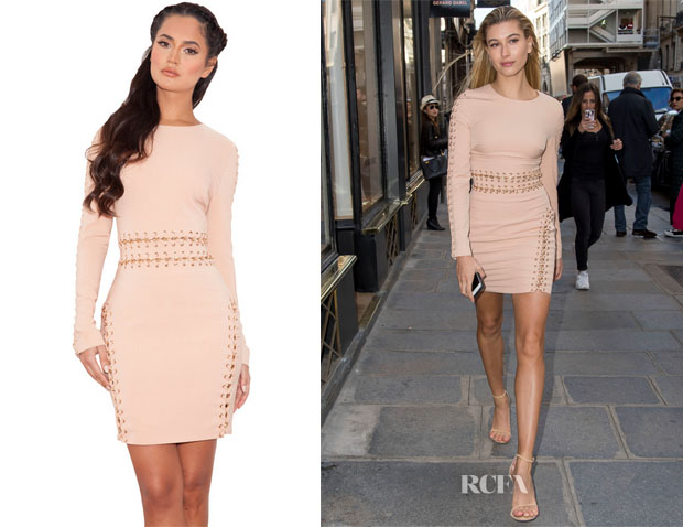 Hailey Baldwin's House of CB 'Anuki' Long Sleeve Chain Detail Dress