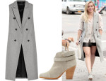 Hilary Duff's Rag & Bone Faye Wool-Blend Gilet and Rag & Bone Harrow Boots