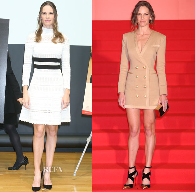 Hilary Swank In Alexander McQueen & Balmain - 'You're Not You' Tokyo Film Festival Press Conference & Premiere