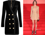 Hilary Swank's Balmain Stretch-Cotton Velvet Mini Dress