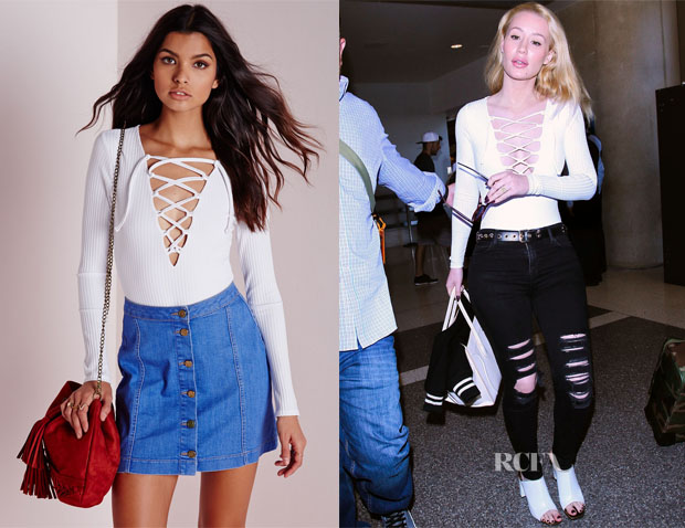 Iggy Azalea's Missguided Lace Up Front Bodysuit