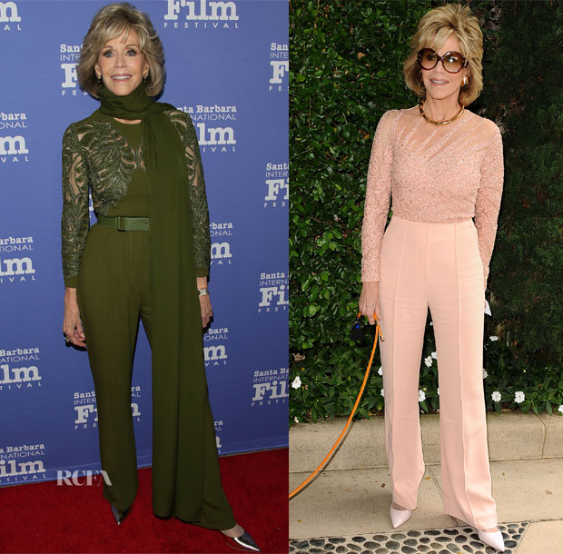 Jane Fonda In Elie Saab - Santa Barbara International Film Festival & The Rape Foundation's Annual Brunch