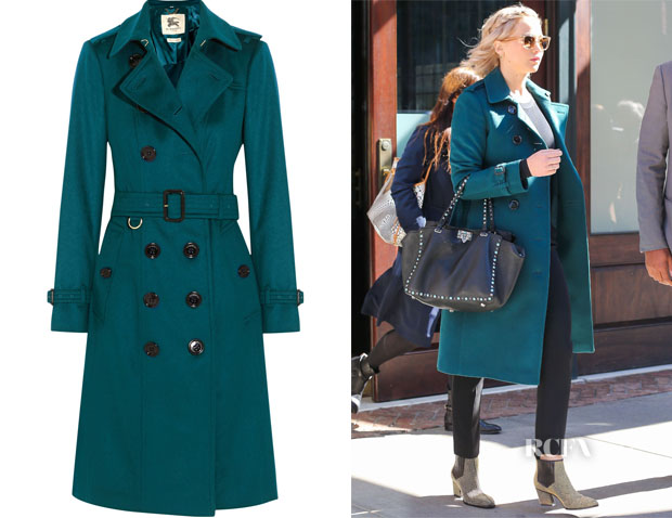 Jennifer Lawrence's Burberry London Brushed-cashmere trench coat