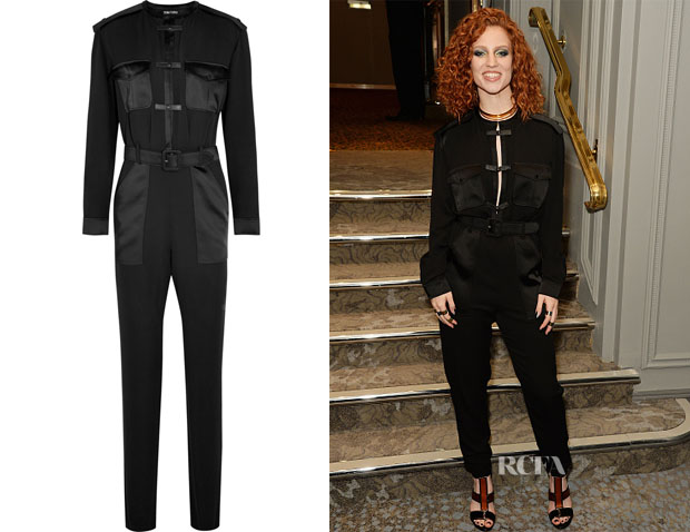 Jess Glynne's Tom Ford Leather-trimmed silk-georgette jumpsuit