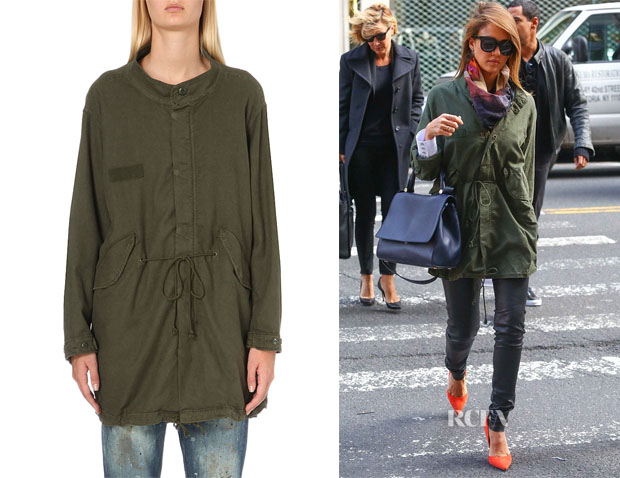Jessica Alba's THE GREAT The Fishtail Cotton-Blend Parka Jacket