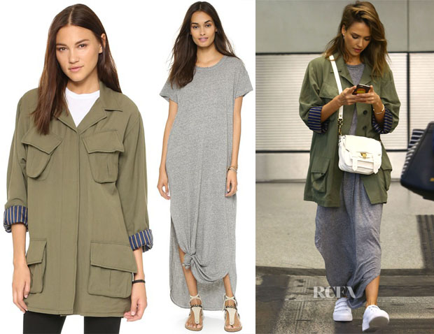 Jessica Alba's THE GREAT The Knotted Tee Dress & SMYTHE Oversized Army Jacket