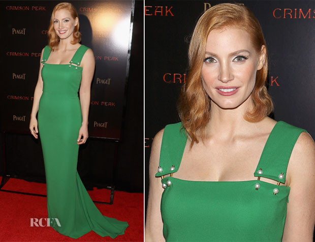 Jessica Chastain In Lanvin - 'Crimson Peak' New York Premiere