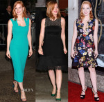 Jessica Chastain In Roland Mouret, Lela Rose & Erdem - 'Crimson Peak' New York Promo Tour