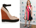 Jessica Chastain's Paul Andrew Whitney Colourblock Suede Wedges