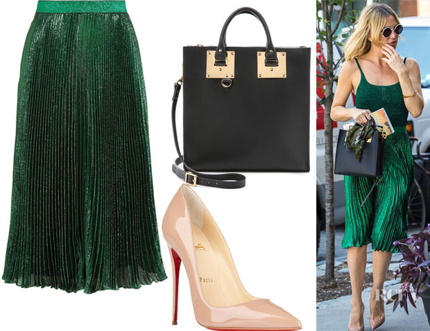 Kate Hudson's Christopher Kane Metallic Pleated Skirt, Christian Louboutin 'So Kate' Pumps And Sophie Hulme Square Tote