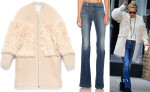 Kate Hudson's Loeffler Randall Shearling Blocked Coat & J Brand Demi Patched Pocket Flare Jeans in Ashbury