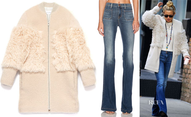 Kate Hudson's Loeffler Randall Shearling Blocked Coat & J Brand Demi Patched Pocket Flare in Ashbury