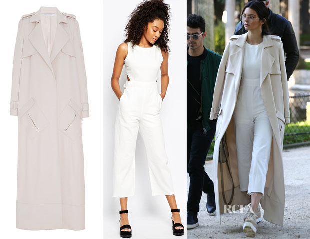 Kendall Jenner's Sally LaPointe Duster Trench Coat & ASOS Denim Wide Leg Cut Out Jumpsuit