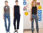 Kiernan Shipka's Rebecca Taylor Mystic Garden Boot Cut Pants & Sleeveless Top