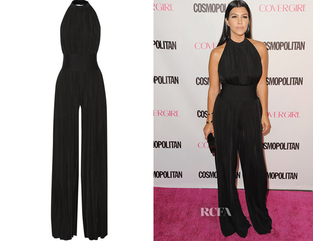 Kourtney Kardashian's Balmain Pleated stretch-jersey jumpsuit