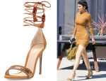 Kylie Jenner's Alexandre Birman Toni Whipstitched Python and Suede Sandals
