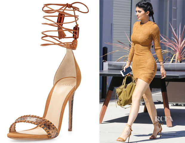 Kylie Jenner's Alexandre Birman whipstitched python and suede sandals