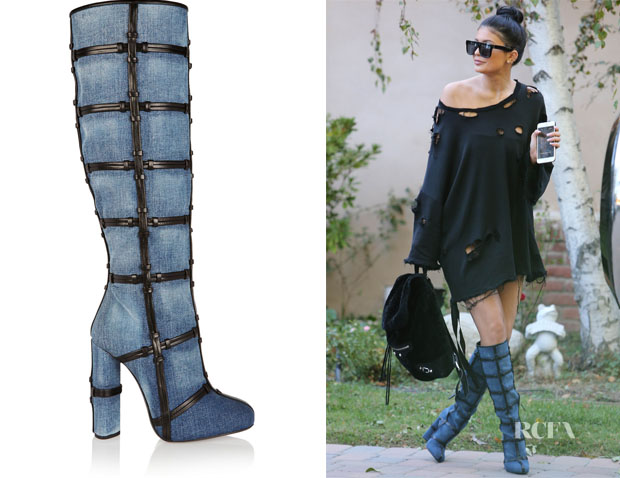 Kylie Jenner's Tom Ford Patchwork Denim and Leather Knee Boots