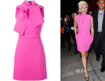 Lady Gaga MSGM  tie-neck dress