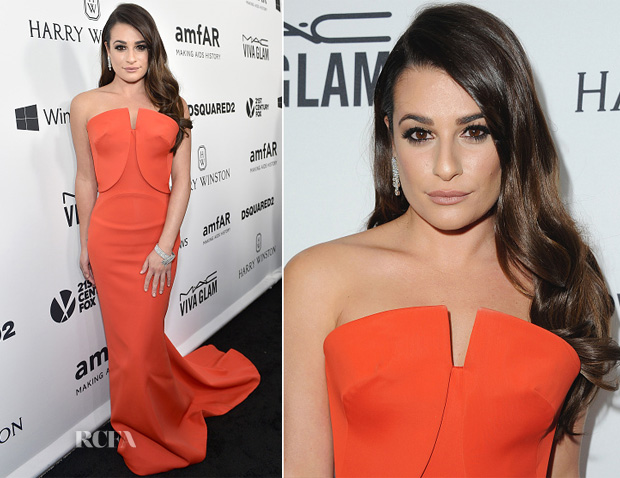 Lea Michele In Zac Posen - amfAR's Inspiration Gala Los Angeles
