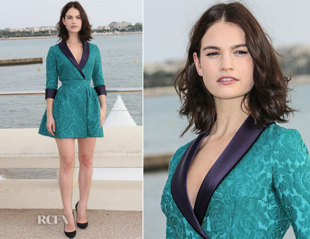 Lily James In Ulyana Sergeenko Demi-Couture - 'War and Peace' Cannes Photocall