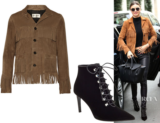Miranda Kerr's Saint Laurent Curtis fringed suede jacket & Balenciaga Pointy Toe Bootie