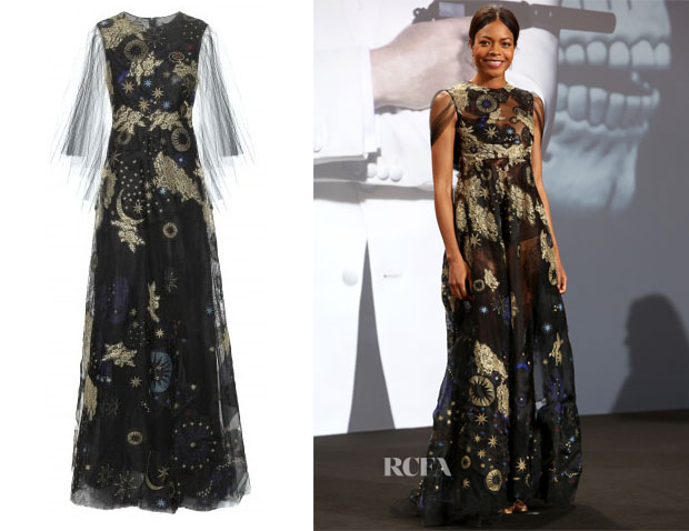 Naomie Harris' Valentino Embroidered Printed Gown