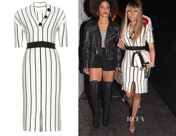 Nicki Minaj's Balanciaga Striped silk jersey dress