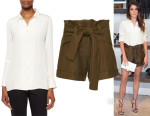 Nikki Reed's IRO Bonnie Button-Down Blouse & Tie Waist Shorts