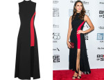 Nina Dobrev's Versace Two-Tone Crepe Dress