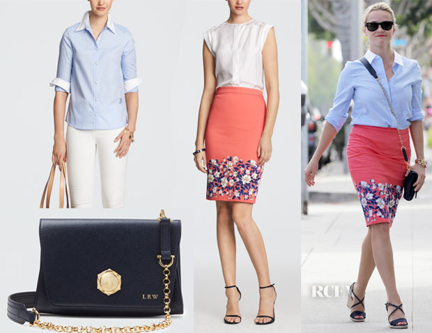 Reese Witherspoon's Draper James Elliott Shirt, Memphis Skirt & Minnie Bag