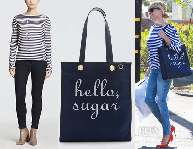 Reese Witherspoon's Draper James Stripe Bow Tee & Draper James Hello Sugar Tote