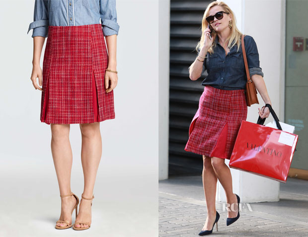 Reese Witherspoon's Draper James Susannah Mid Length Tweed Skirt