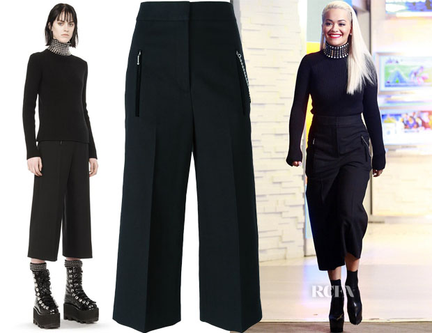 Rita Ora's Alexander Wang Studded Silk Turtleneck & Cropped Trousers