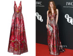 Rose Leslie's Temperley London Metallic Red Long Arazzi Dress