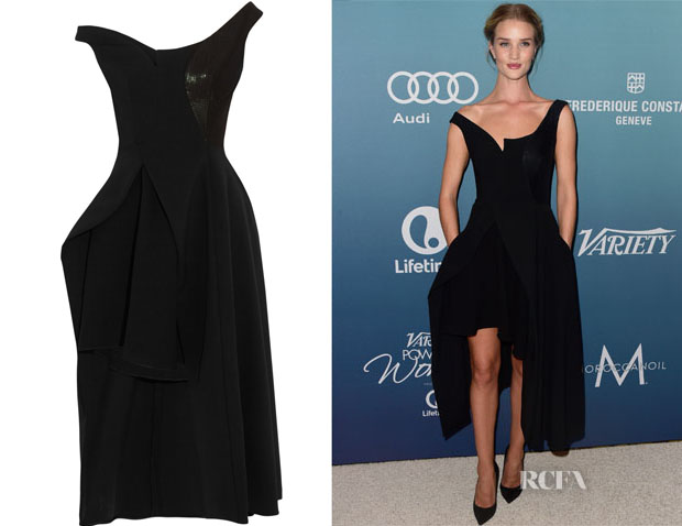 Rosie Huntington-Whiteley's Stella McCartney Reily cutaway embellished wool-blend crepe midi dress